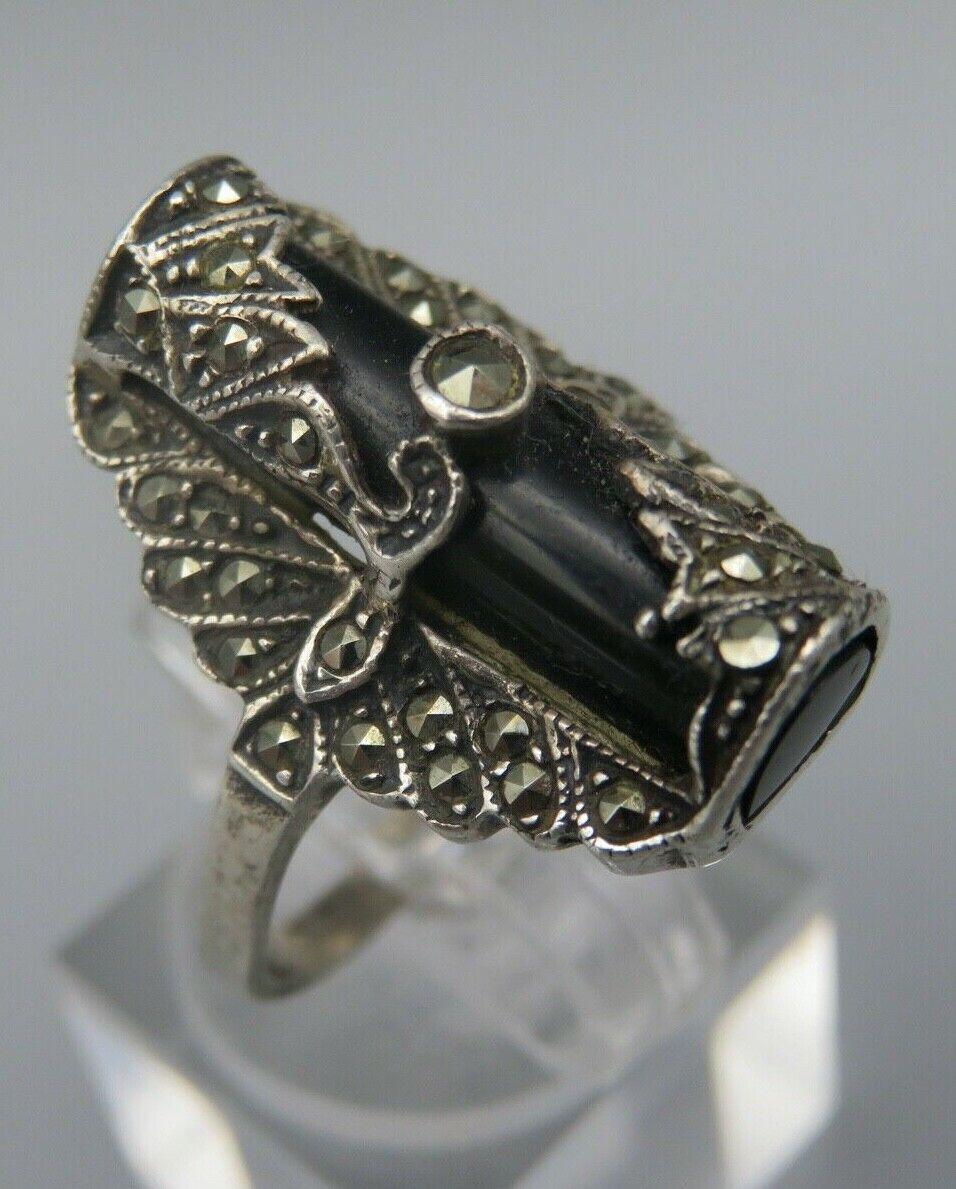 Art Deco Silber 925 Ring mit Onyx und Markasite Gr.57 (A)