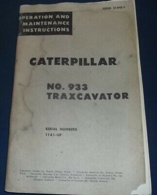 Cat Caterpillar 933 Traxcavator Track Loader Operation Maintenance Manual 11a