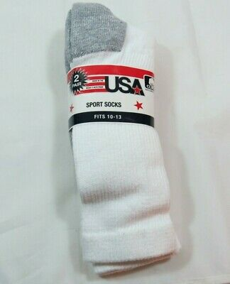 Men's 2PK White Crew Sport Socks Size 10-13 Made In The USA 85% Cotton Soft  2pk Cotton Sock