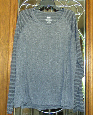 Avia Women's Plus Size XXXL (22) Activewear Top Gray Lengthy Sleeve w Thumb Holes