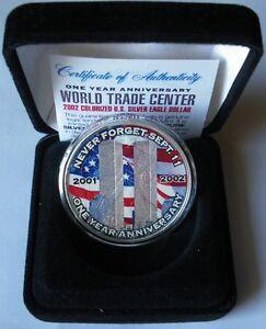 1 Dollaro 2002 Silver Eagle 1 Oncia .999 World Trade Center - Cagliari, Italia - 1 Dollaro 2002 Silver Eagle 1 Oncia .999 World Trade Center - Cagliari, Italia