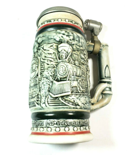 Vintage 1982 Avon Beer Stein Handcrafted Brazil Collectable Lidded Train