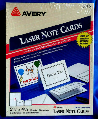 "AVERY 5315 - 5 1/2"" x 4 1/4""  Laser Printer 50 Note Cards & Envelopes - sealed"