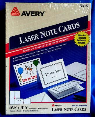 Avery 5315 - 5 12 X 4 14 Laser Printer 50 Note Cards Envelopes - Sealed