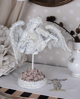Anmutiger Angel & Instrument Romantic Pur Shabby Antique