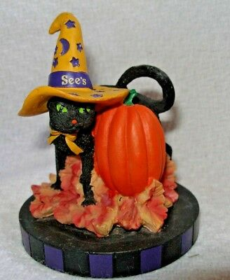 See's Candy Candies Shop Halloween black Cat & Pumpkin Top only ()