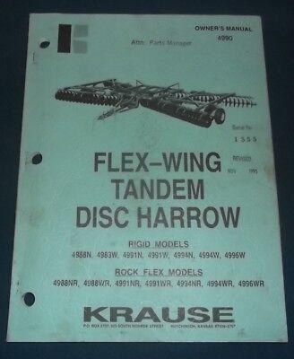 Krause Flex-wing Tandem Disc Harrow Operation Maintenance Parts Manual Book