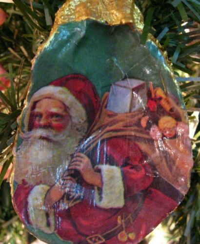 Oyster shell ornament Santa New Orleans Louisiana beach gift party Christmas