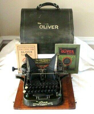 1906-07-ANTIQUE OLIVER TYPEWRITER NO.3-W METAL CASE & BOOKS- SERIAL # 175419