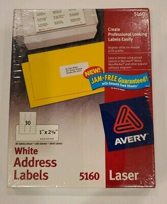 Vintage Avery 5160 White Address Labels 1x2-58 - 3000 Labels