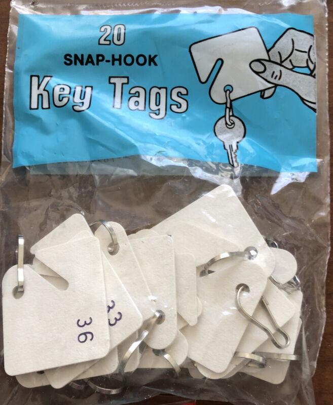 Snap-hook Key Tags. 20 Count  Per Bag