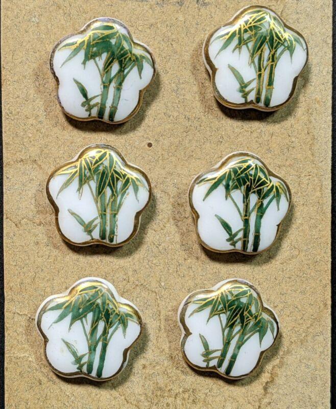 6 Antique Japanese Kutani Porcelain Bamboo Buttons