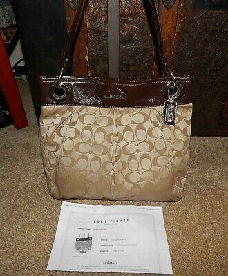 Coach Handbag Purse F17599 Ashley 2-way Tote Pleated Khaki Tan Brown Leather COA