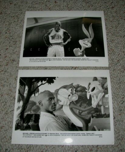 "MICHAEL JORDAN TWO (2) ORIGINAL 1996 B&W 8x10 PRESS PHOTOS ""SPACE JAM"""