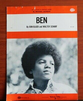 Ben - Michael Jackson - vintage 1972 sheet music- Piano Vocal Guitar Michael Jackson Piano Sheet Music