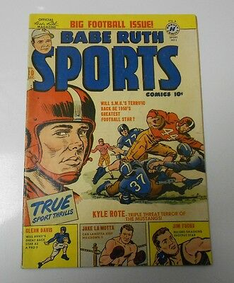 1950 BABE RUTH SPORTS COMICS #10 Kyle Rote JAKE La MOTTA Jim Fuchs VG+