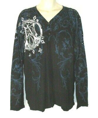 Affliction Live Fast Henley T Shirt Graphic Black Sz XL Long Sleeve Men CBV17