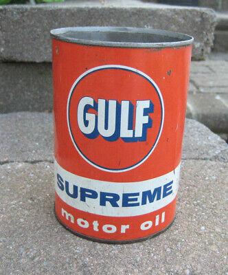 Vintage Gulf Supreme 1 Quart Motor Oil Can