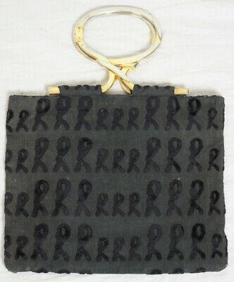 Vintage ROBERTA DI CAMERINO Black VELVET/FABRIC Signature PURSE Bag - Italy
