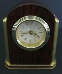 Vintage Chass Brass Desk Clock Gold and Mahogany Tone Shelf Table Quartz 5 Tall