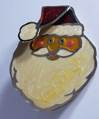 Vintage ARTISAN Signed TWO HANDS Christmas Holiday  Brooch Pin Santa FACE Enamel