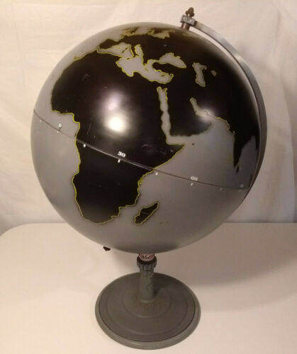 "Denoyer Geppert Globe 24"" Metal Navy Gray Vintage 1940s Mint Condition"