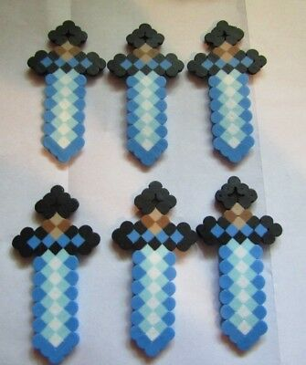 MINE CRAFT Inspired DIAMOND SWORDS Birthday Party Favors Lot of 6 Necklace - Mine Craft Party Supplies