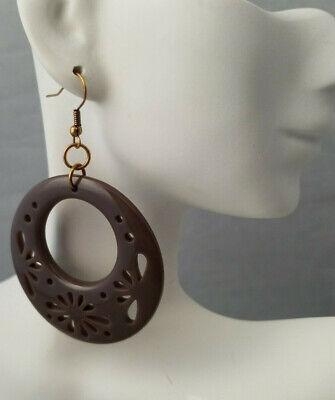 Bohemian Flower Cut Out Hoop Circle Earrings Dark Brown BOHO Hippie Hook Back
