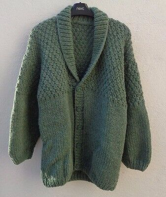 Hand knitted men's 100% wool cardigan NEW