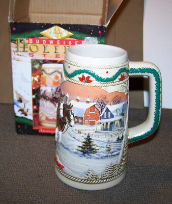BRAND NEW 1996 Budweiser Christmas Beer Stein American Homestead Holiday Stein