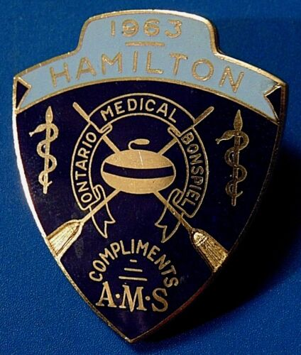 Canada 1963 Hamilton Ontario Medical AMS Bonspiel CURLING badge PIN