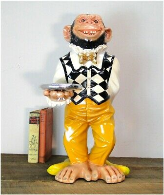 Monkey Butler Ape Statue w Silver Tray Suit Bow Tie for Bar Kitchen 2 Foot -