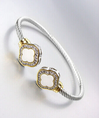 CLASSIC White Shell CZ Crystals Clover End Tips Thin Silver Cable Cuff Bracelet