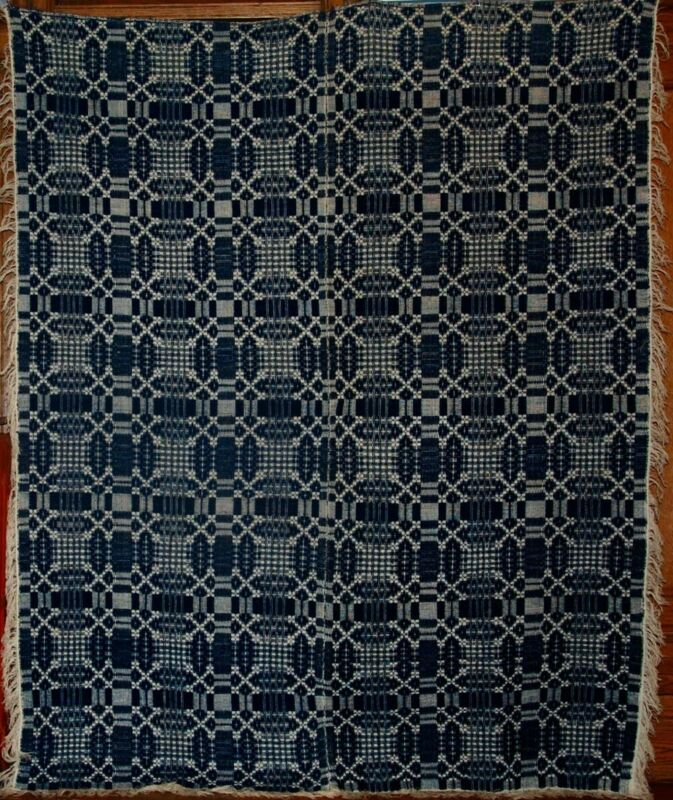INDIGO and WHITE OVERSHOT SUMMER WINTER COVERLET ~ EARLY 1800s ~ APPEARS UNUSED.