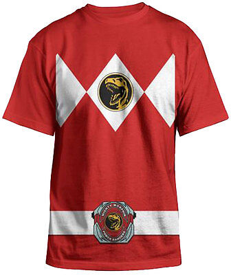 Power Rangers Mighty Fine Ranger Costume Adult Red T-Shirt - Halloween Party T (Tshirt Costume)