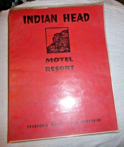 VINTAGE MENU INDIAN HEAD MOTEL RESORT FRANCONIA NOTCH NEW HAMPSHIRE