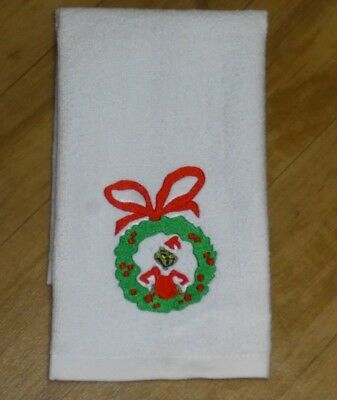 Dr Seuss Wreath (The GRINCH Wreath Embroidered Dr Seuss Christmas white hemmed fingertip)