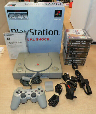 SONY Playstation 1 PS1 Console Bundle With 10 Games, AV Leads