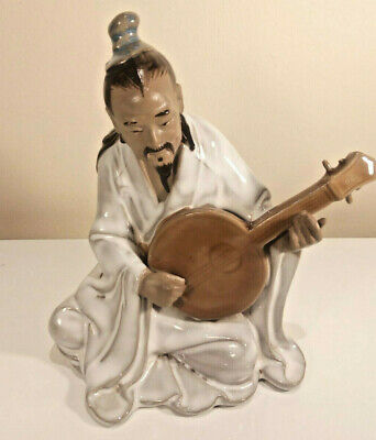 Vintage Japanese Shiwan Mud Man Sitting with Musical Instrument Glazed Art 6