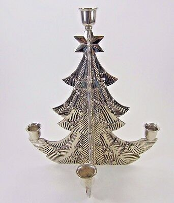 """Godinger silver-plate Christmas Tree 5 light Candle Holder Advent 12"""" tall Heavy"""