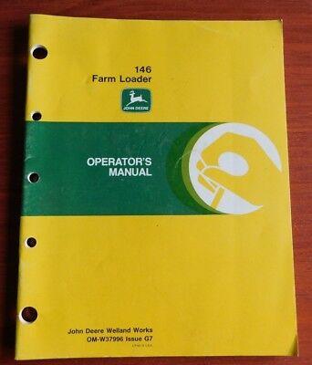 John Deere 146 Farm Loader - Operators Manual Om-w37996 G7 - 1987