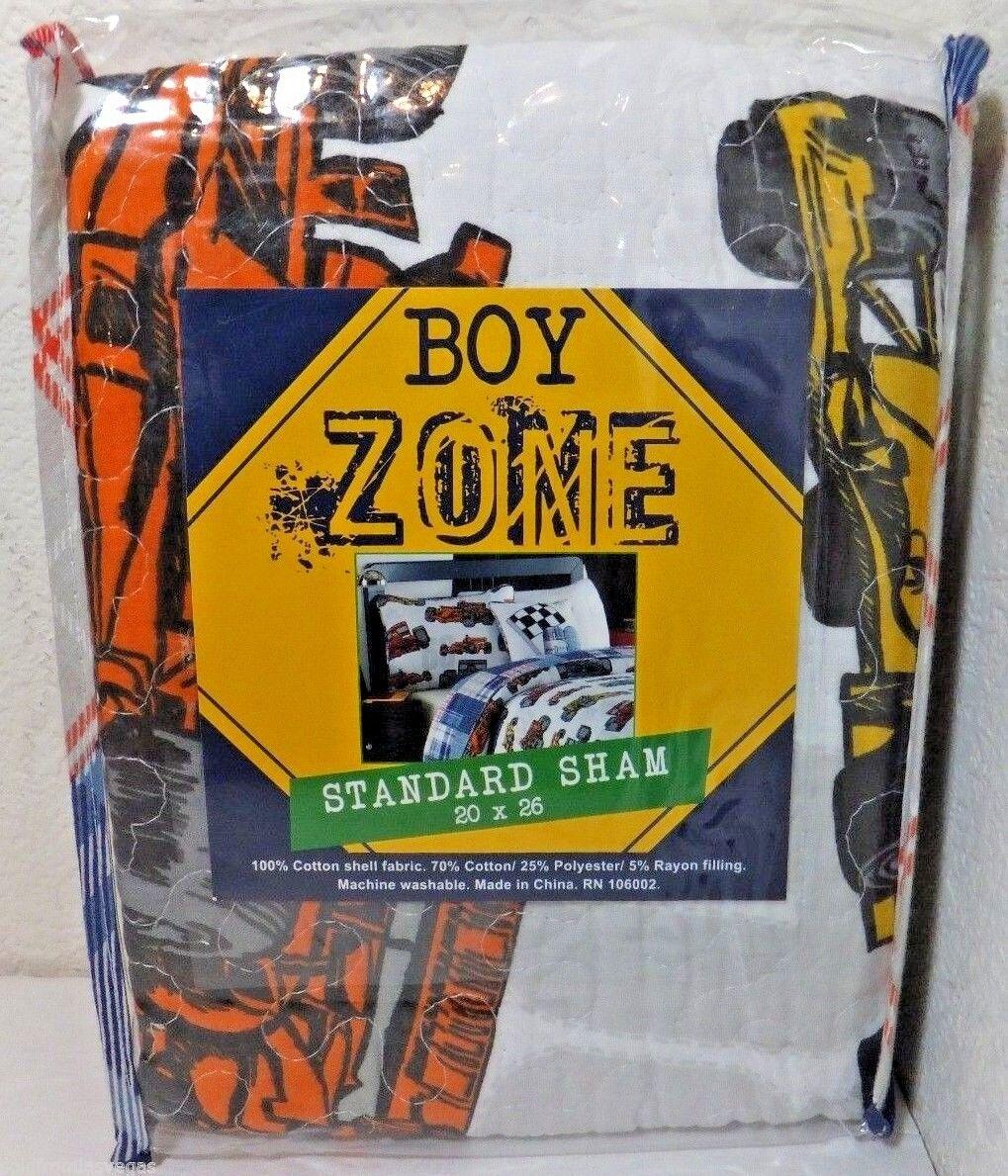 NEW -BOY ZONE One  Standard Pillow Sham White/Multi Color Ra