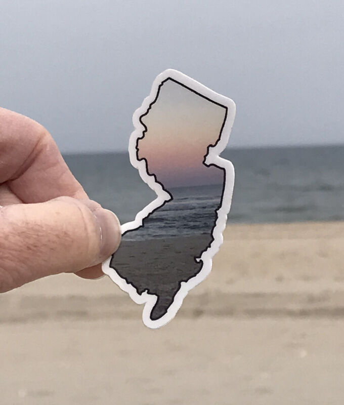 Jersey Shore Sticker Beach State Outline Sunset Ocean LBI NJ Decal Cute Vacation