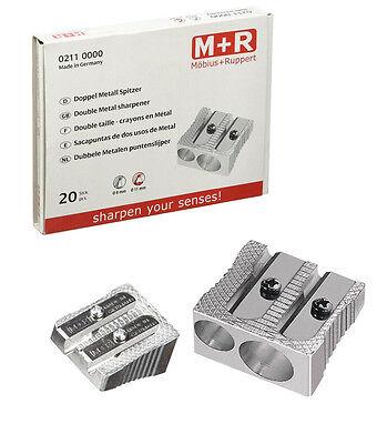Spitzer M + R Metall Doppel-Anspitzer / Bleistiftspitzer für 2 Stiftdurchmesser