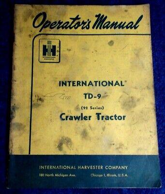 1959 Operators Maintenance Manual International Harvester Td-9 Crawler Tractor
