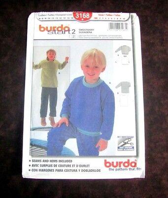 Burda Pattern 3168 Child Sweatshirt Loose-Fitting 2 Styles Size 2 thru 10 Uncut