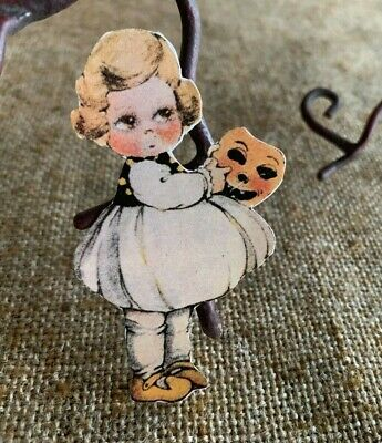 Repro Vintage 1900s Girl Holding Pumpkin Halloween Mask Mini  Decoration,2 1/2