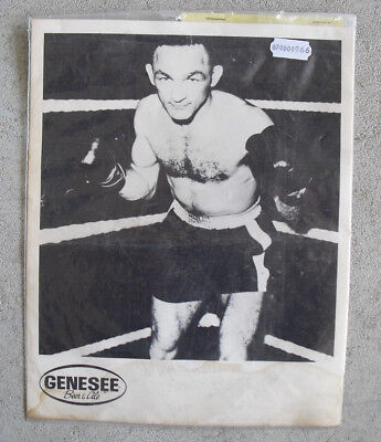 (Vintage Carmen Basilio Boxer Signed Genesee Black and White Promo Photo)