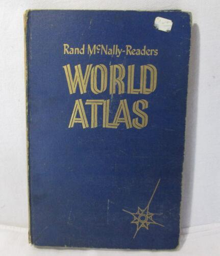 Rand McNally Readers World Atlas Blue Hardcover, C.1951