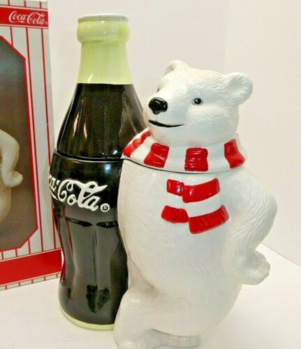 Coca-Cola Coke Cookie Jar Polar Bear Standing Next to Bottle Mint in  Box 1998